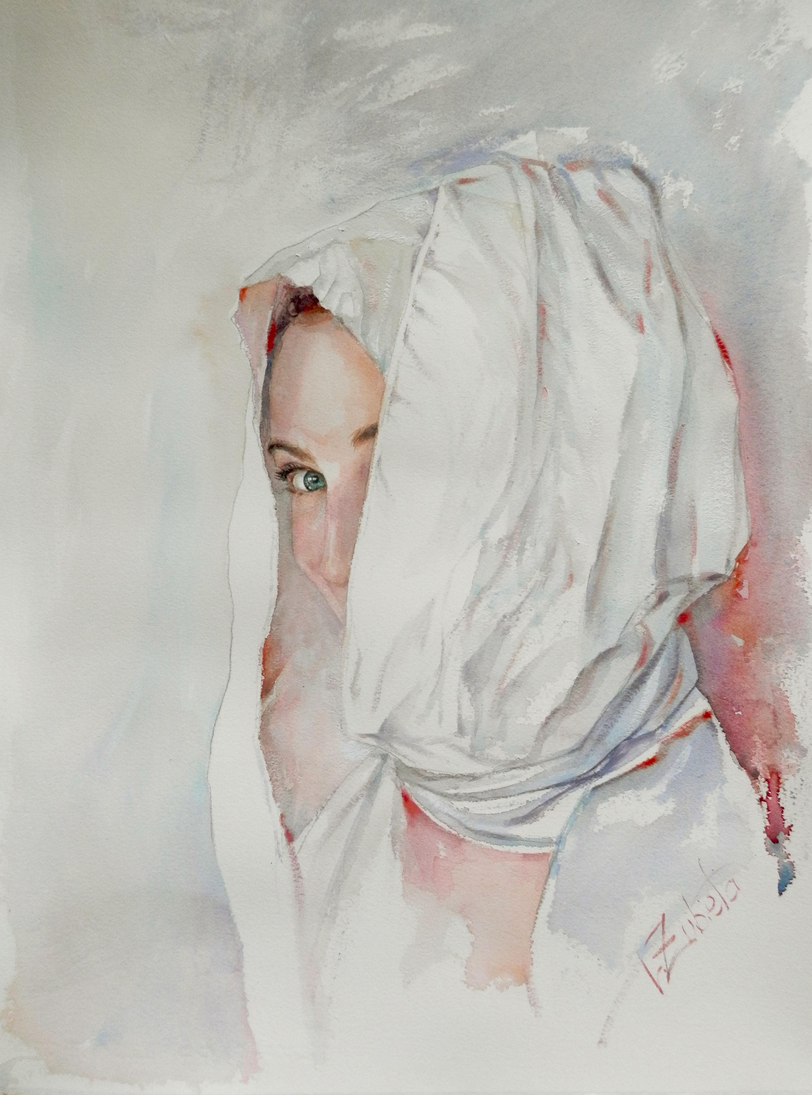 María de la Perla. Ac. y oleo en papel. 45 x 50 cm